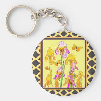 Yellow Purple Iris Butterfly Pattern Basic Round Button Key Ring