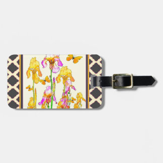 Yellow Purple Iris Butterfly Pattern Luggage Tag