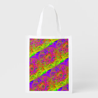 yellow purple mandala Thunder_Cove Reusable Grocery Bag