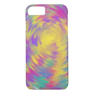 Yellow Purple Pink Aqua Spiral Abstract Art Design iPhone 8/7 Case