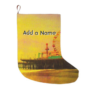 Yellow Purple Santa Monica Pier Large Christmas Stocking