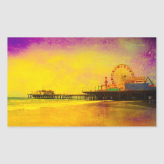 Yellow Purple Santa Monica Pier Rectangular Sticker