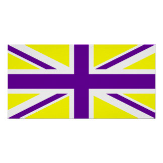 Yellow Purple Union Jack Poster