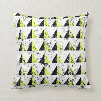 Yellow Pyramid Distressed Pattern Cushion