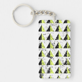 Yellow Pyramid Distressed Pattern Double-Sided Rectangular Acrylic Key Ring