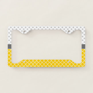 Yellow Quatrefoil and Grey Polka Dot Pattern Licence Plate Frame