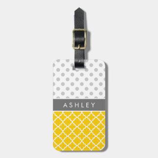 Yellow Quatrefoil and Grey Polka Dot Pattern Luggage Tag