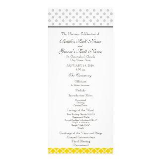 Yellow Quatrefoil and Grey Polka Dot Pattern Full Colour Rack Card
