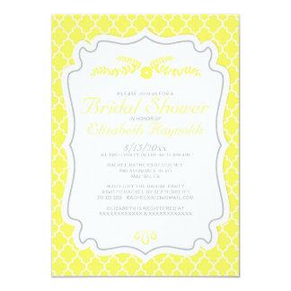 Yellow Quatrefoil Bridal Shower Invitations