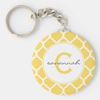 Yellow Quatrefoil Monogram Basic Round Button Key Ring