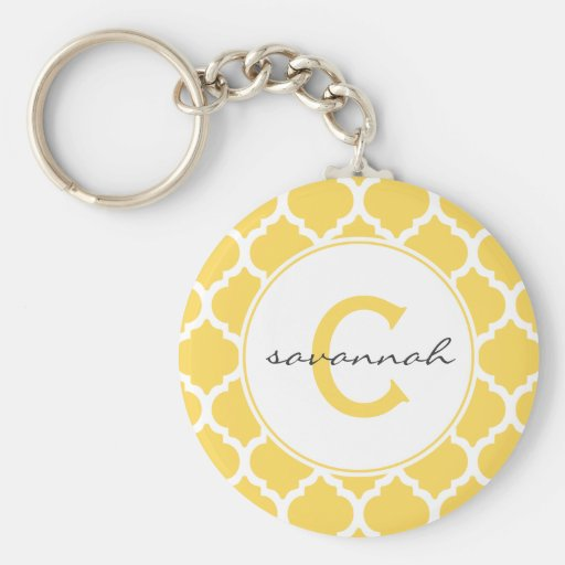 Yellow Quatrefoil Monogram Key Chains