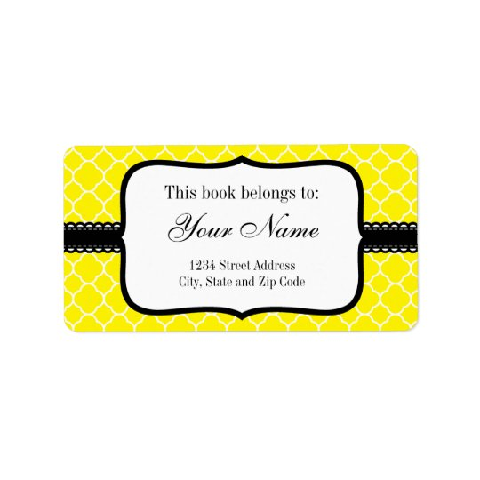 Yellow Quatrefoil Pattern Label