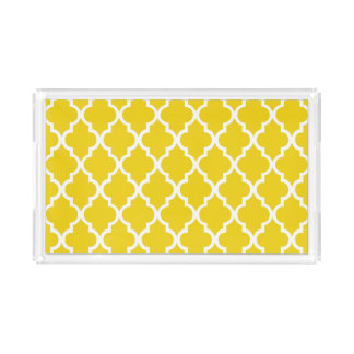 Yellow Quatrefoil Tiles Pattern Acrylic Tray