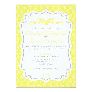 Yellow Quatrefoil Wedding Invitations
