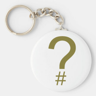 Yellow Question Tag/Hash Mark Basic Round Button Key Ring