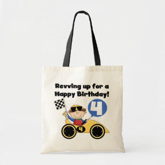 Yellow Race Car 4th  Birthday Tshirts and Gifts