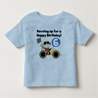 Yellow Race Car 6th Birthday Tshirts and Gifts