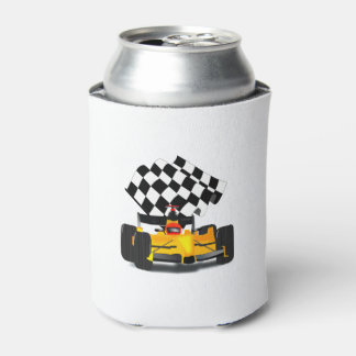 Yellow  Race Car with Chequered Flag Can Cooler