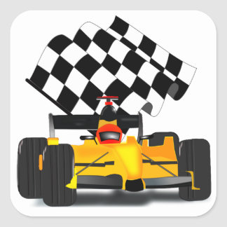 Yellow  Race Car with Chequered Flag Square Sticker
