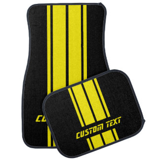 Yellow Race Double Stripes | Personalize Car Mat