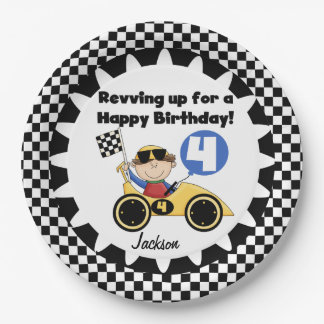 Yellow Racing Car 4th Birthday Paper Plates