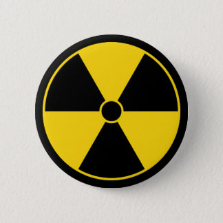 Yellow Radiation Symbol Button