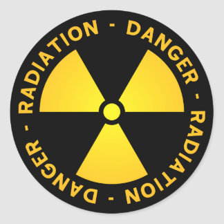 Yellow Radiation Warning Classic Round Sticker