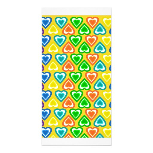 yellow rainbow hearts pattern photo cards