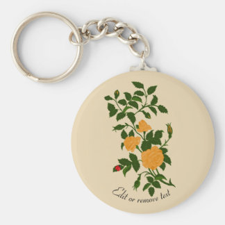 Yellow Rambling Rose with Ladybug Key Ring