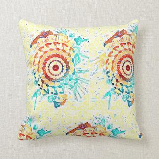 Yellow random art design pillow