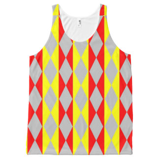 Yellow Red And Grey Diamonds All-Over Print Tank Top