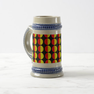 yellow red beer stein