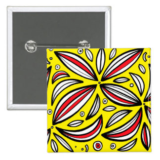 Yellow Red Black Abstract 15 Cm Square Badge