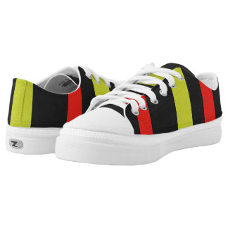 Yellow red black line pattern low tops