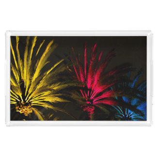 Yellow Red Blue Night Palm Trees Acrylic Tray