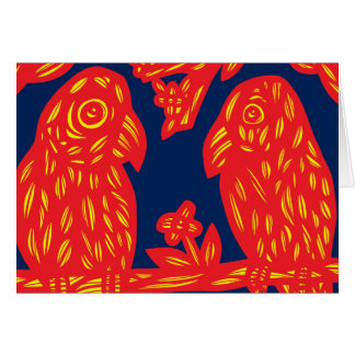 Yellow Red Blue Parrots Greeting Card