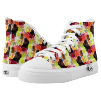 Yellow, Red, Brown Colorful Abstract Pattern High Tops