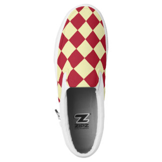 Yellow red checkerboard pattern printed shoes