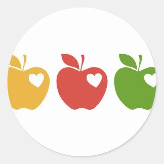 Yellow Red Green Apple Classic Round Sticker