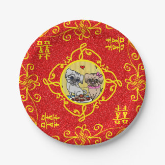 Yellow Red happiness love geometric personalizable 7 Inch Paper Plate