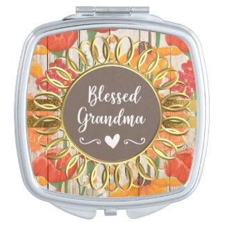 Yellow Red Orange Floral Rustic Blessed Grandma Makeup Mirrors