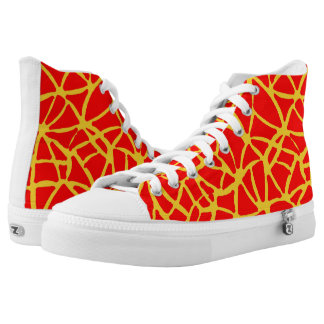 yellow-red printed shoes