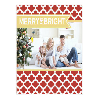 Yellow Red Quatrefoil Holiday Flat Card Invite