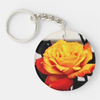 Yellow Red Rose Single-Sided Round Acrylic Key Ring