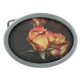 Yellow Red Rose Oval Belt Buckle