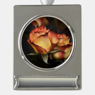 Yellow Red Rose Silver Plated Banner Ornament