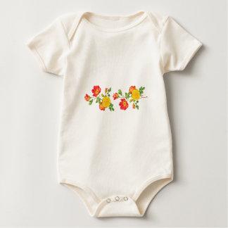 Yellow Red Roses Baby Bodysuit