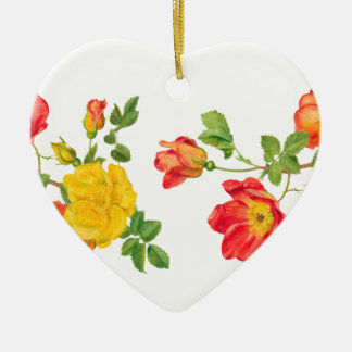 Yellow Red Roses Ceramic Heart Decoration