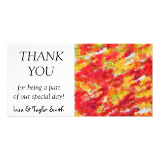 Yellow red splatters photo greeting card
