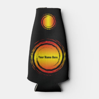 Yellow Red Swirling Circles Suns with Your Name Bottle Cooler